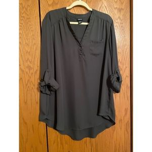 Torrid Grey Georgette Pullover Blouse - Size 1